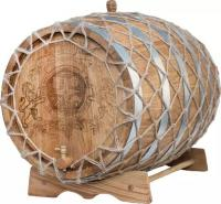 Бочка дубовая 150 л. с гравировкой в оплетке, вощеная